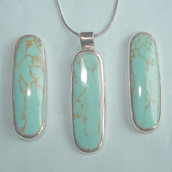 Sterling Silver Long Oval Turquoise Pendant , Earrings Set