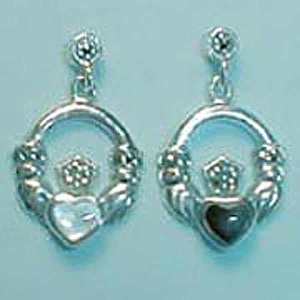 Marcasite Accents Claddagh Sterling Silver Earrings, Black, Pearl or Green Stone