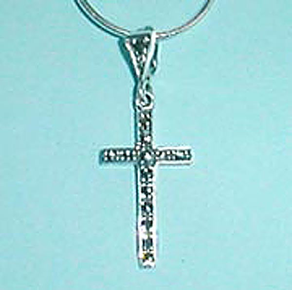 Sterling Silver Plain Marcasite Cross on Silver Chain