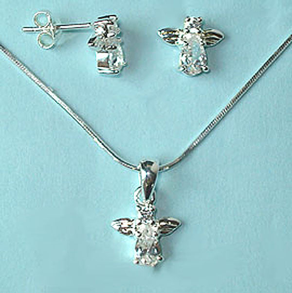 Mini Angel CZ Sterling Silver Pendant & Earrings
