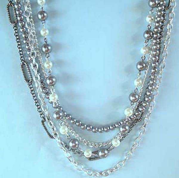 Multi-Chain Grey Pearl Silver Necklace Set