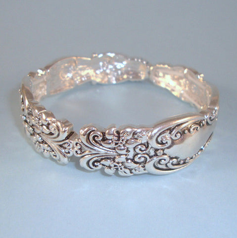 Designer Vintage Ornate Style Antique Silver Spoon Pattern NEW Stretch Bracelet