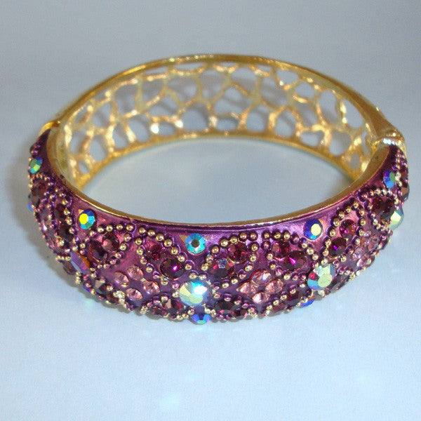 Vintage Estate Jewelry Look PurpleCrystal Gold Bangle Filigree Back Bracelet Hinged