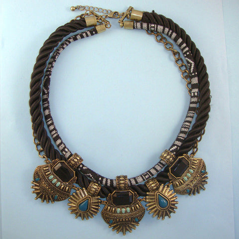 Black Silk Cord Ethnic Tribal Statement Choker Necklace, Antique Gold Accent