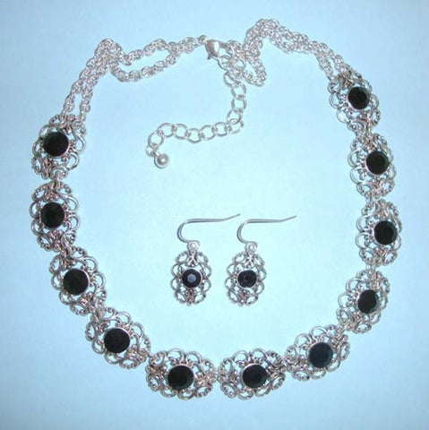 Antique Look Scrollwork Filigree Silver Black Bib Necklace