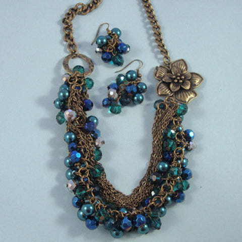 Blue Crystal bead, Chains & Accent Flower Bib Statement Necklace Set