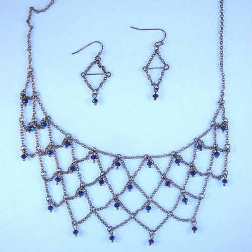 Delicate Chain Web Necklace Set Navy Gems Bead Accents