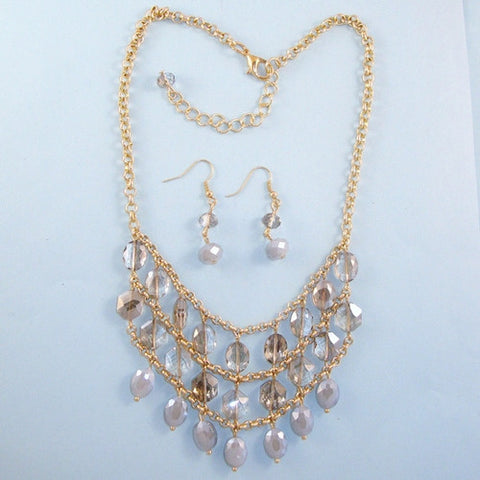 Clear Glass Beads Stones Statement Necklace Gold Plated