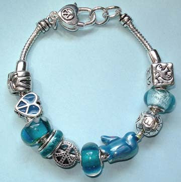 European Charm Bracelet Peace Theme Charms & Glass Beads Fashion Jewelry