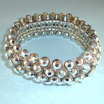 Silver Look Beaded Stretchy Bracelet