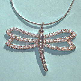 CZ Silver Dragonfly Necklace