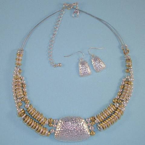 Gold & Silver Bead Statement Bib Necklace Set