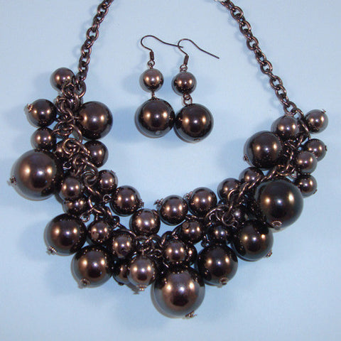Hematite Statement Necklace, Bib Style, & Matching Earrings