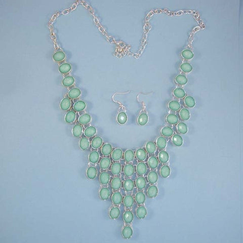Pale Aqua Statement Cascade Bib Necklace Set in Silver