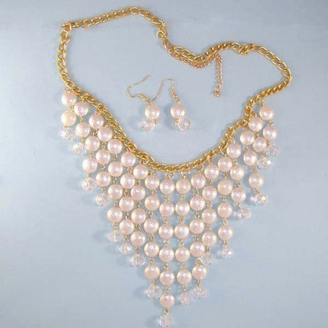 Pearl Strands Bib Statement Necklace, Nice Bridal Jewelry
