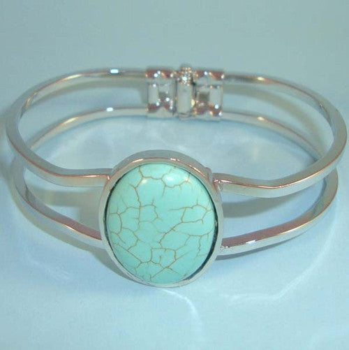 Southwest look Turquoise Hinged Bangle, Silver Bracelet