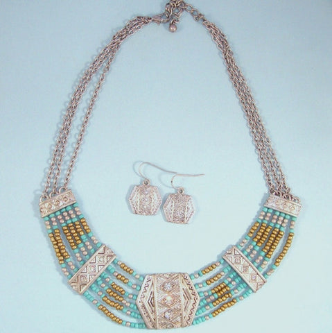 Turquoise & Bronze Seed Bead Statement Bib Necklace Set