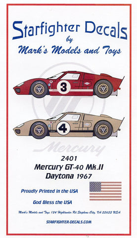 Mercury GT40 Mk.II  Decals 1/24th Scale