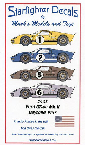 Ford GT40 Mk. II Decals 1/24th Scale