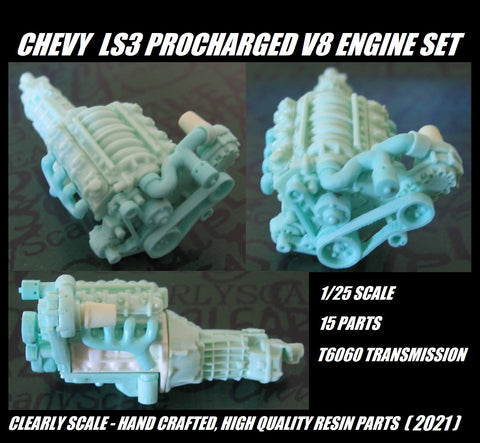 GM/Chevy LS3 Procharged V8 engine set 1/25th scale