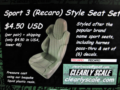 Clearly Scale Recaro Style #3 Seats with decals (set of 2)  1/25th scale