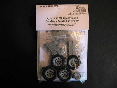 "Minilite 15"" Wheels & Tires Set  1/24th Scale"