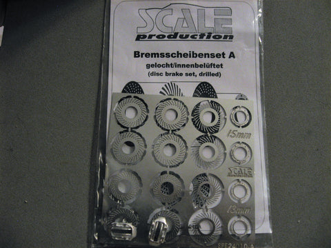 Disc brake set A (drilled rotors)  1/24-1/25th Scale