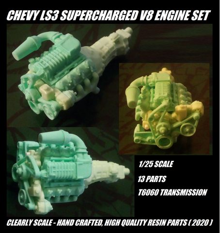 GM/Chevy LS3 Supercharged V8 engine set 1/25th scale
