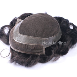 French Lace Front and Middle with PU around Hairpieces for Men - NewHairLine