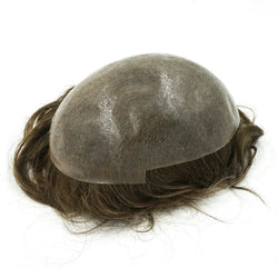 Remy Hair Mens Wig Toupee Full PU Base Hair Replacement System - NewHairLine