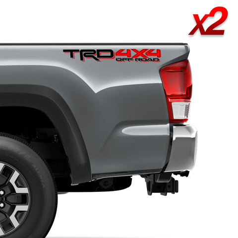 Set of 2: TRD 4X4 off-road sticker w/ clear background for 2016-2020 Toyota Tacoma Tundra bedside - US Rallystripes