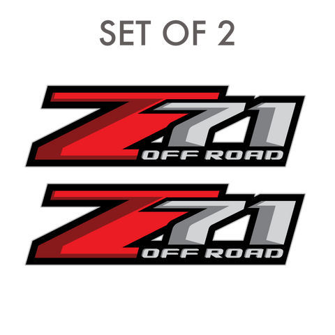 Set of 2: Z71 off-road decal for 2017-2019 Chevrolet Silverado GMC Sierra pickup truck bedside - US Rallystripes