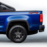 Set of 2: 4x4 decal 2014-2019 Chevrolet Colorado pickup truck bedside OEM specs - US Rallystripes