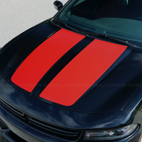 Pre-cut hood vinyl decal set fits Dodge Charger 2015-2020 - US Rallystripes