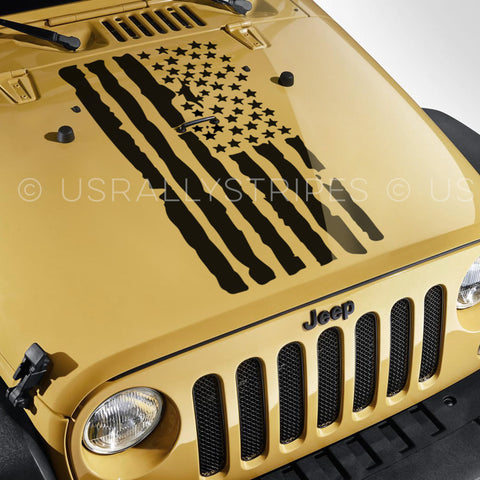 USA distressed flag pre-cut decal for Jeep Wrangler hood - US Rallystripes