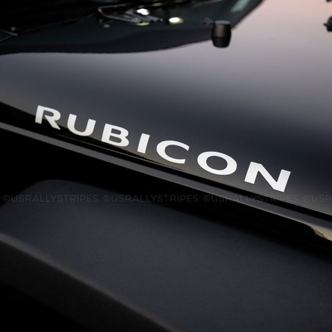 RUBICON vinyl decal set fits Jeep Wrangler 2007-2016 hood - US Rallystripes
