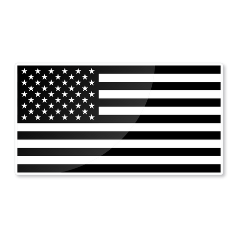 "Reflective 6"" USA black & white flag nighttime visible sticker - US Rallystripes"