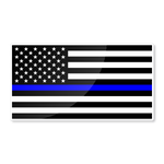 "Reflective 6"" USA thin blue line flag nighttime visible sticker for official cars - US Rallystripes"