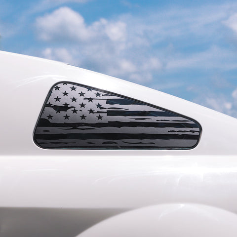 (x2) Distressed USA flag pre-cut decal fits Ford Mustang 2005-2009 quarter window - US Rallystripes