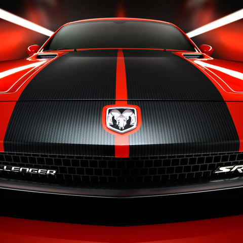 Dodge Challenger 2008-2014 T-hood pre-cut decal OEM specs - US Rallystripes - carbon fiber