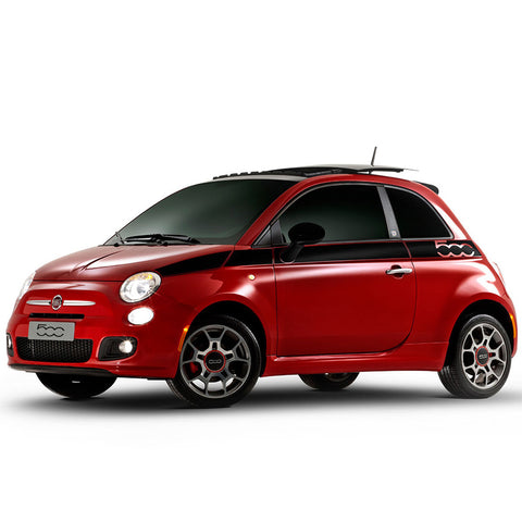 Fiat 500 style 2007 & Up side body pre-cut decal set - US Rallystripes