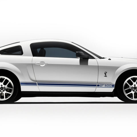 Ford Mustang 2005-2009 GT 500 rocker stripes side body pre-cut set - US Rallystripes