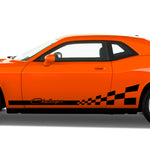 Rocker stripes w/ checkered racing flag fits Dodge Challenger 2008 & Up - US Rallystripes