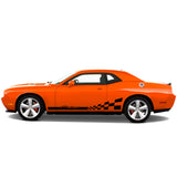 Dodge Challenger 2008 & Up rocker stripes w/ checkered racing flag - US Rallystripes