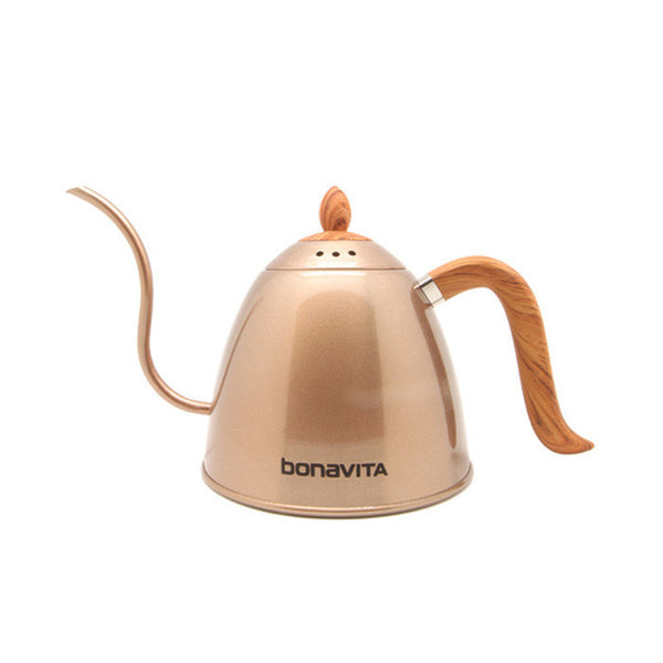 Bonavita - Stovetop Gooseneck Kettle Rose Gold with Wood Grain Handle and Lid 700ml (BV382607STRGW)