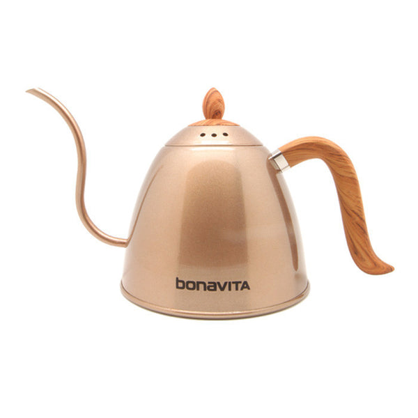 Bonavita - Stovetop Gooseneck Kettle Rose Gold with Wood Grain Handle and Lid 1000ml (BV382610STRGW)