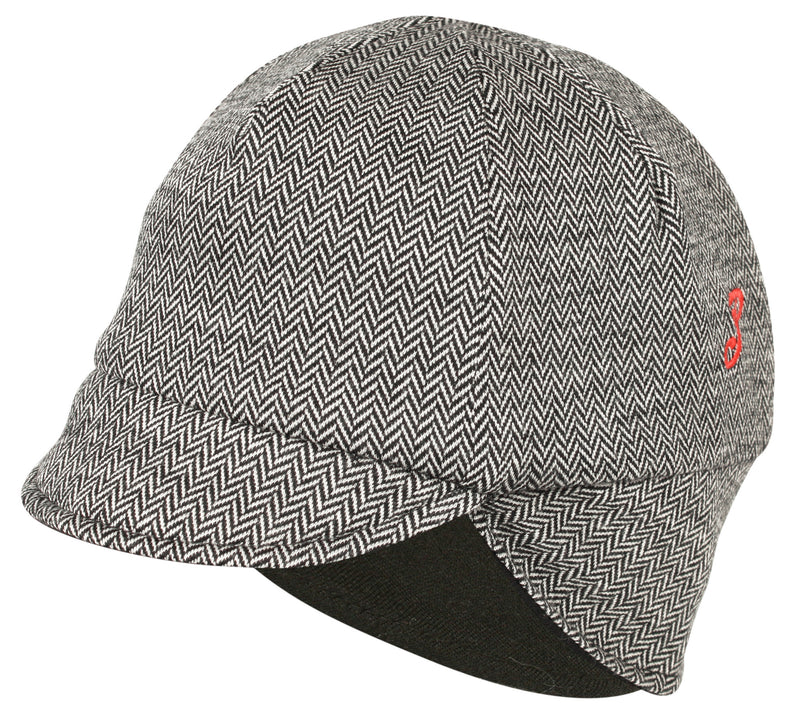 Reversible Wool Winter Hat Mini Herringbone/Black