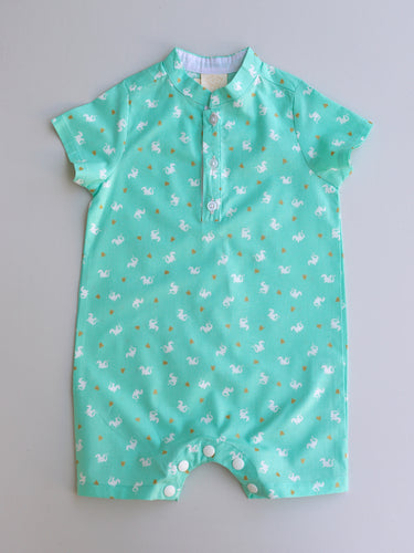 Noah Boys' Romper Mint Dragon