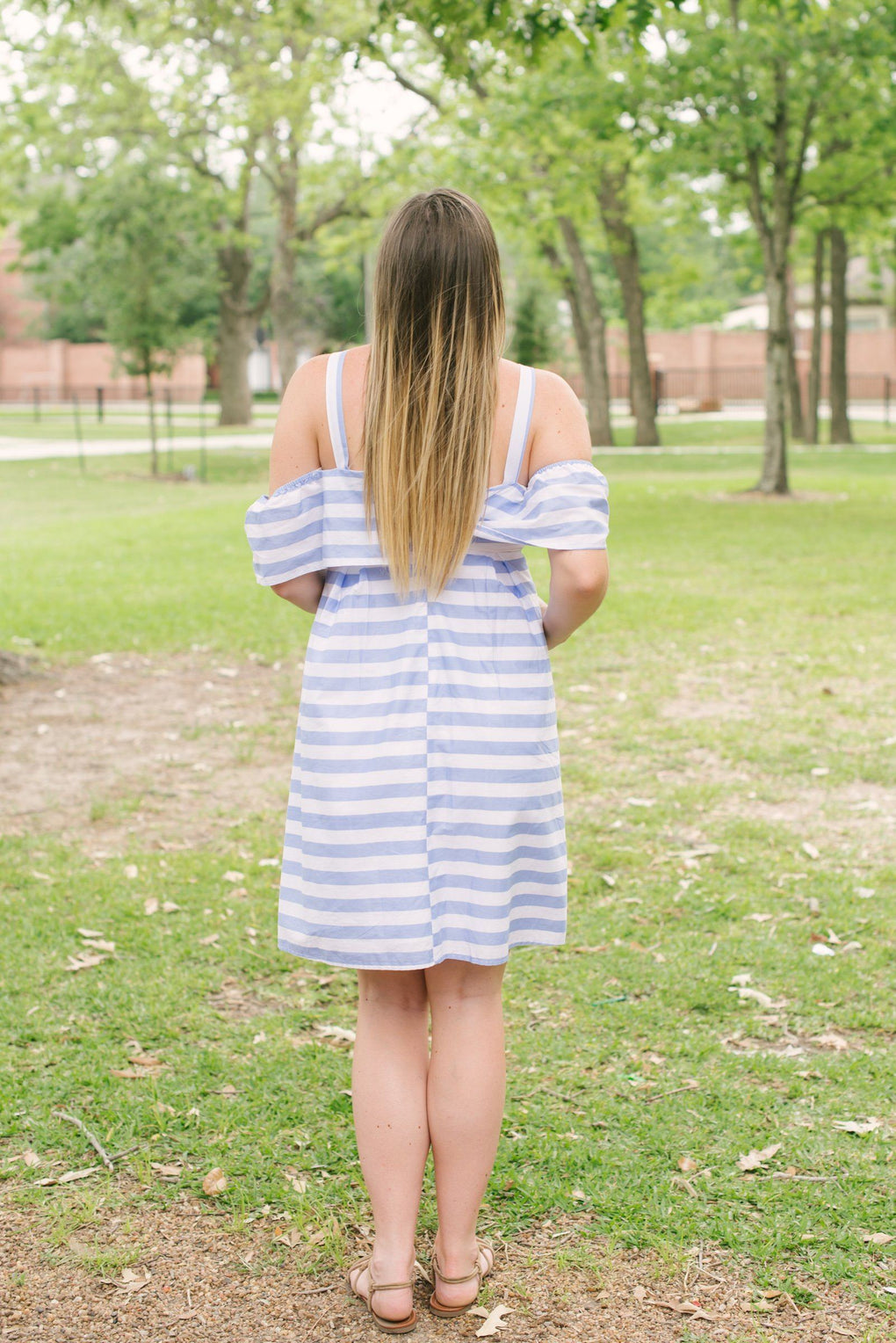 Elena Stripe Off-The-Shoulder Dress