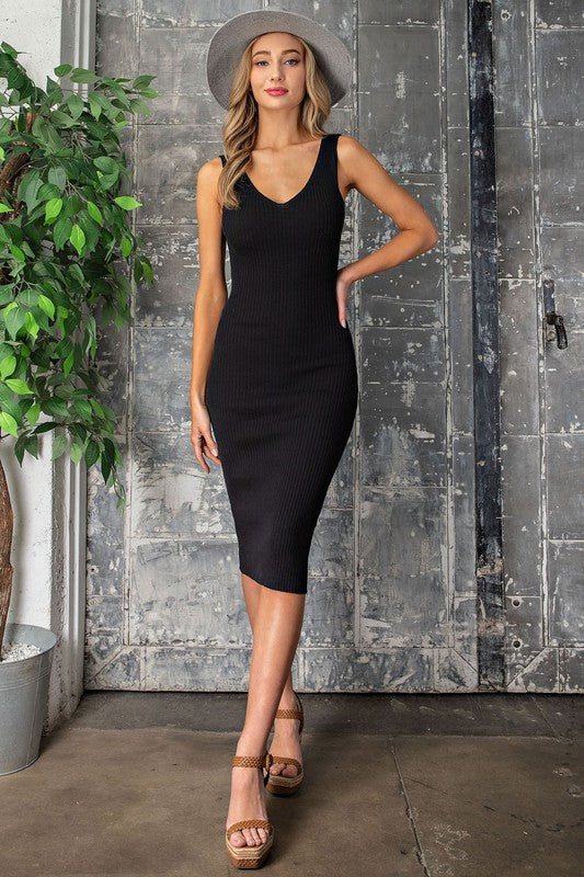 Party With Us Black Midi Dress